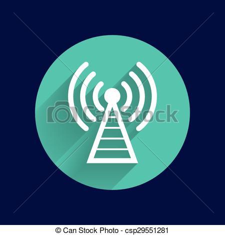 Vector of Antenna icon tower radio mast signal antenna vector.