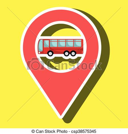 EPS Vector of red signal red bus isolated icon design, vector.