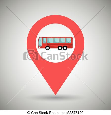 Vector Illustration of red signal red bus isolated icon design.