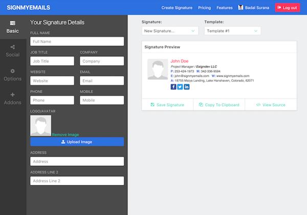 HTML Email Signature Generator, Create Email Signature.