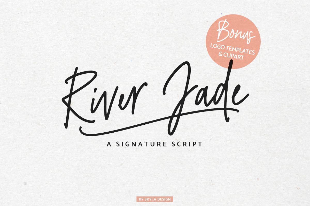 River Jade, signature font script, Logos & bonus clipart.