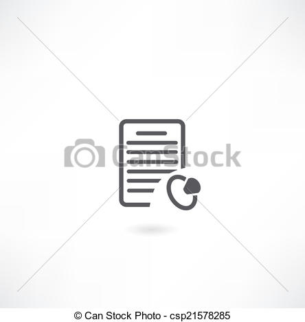 Vector of document and Signet icon csp21578285.