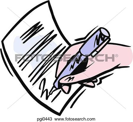 Stock Illustration of A pen signing a document sca0538.