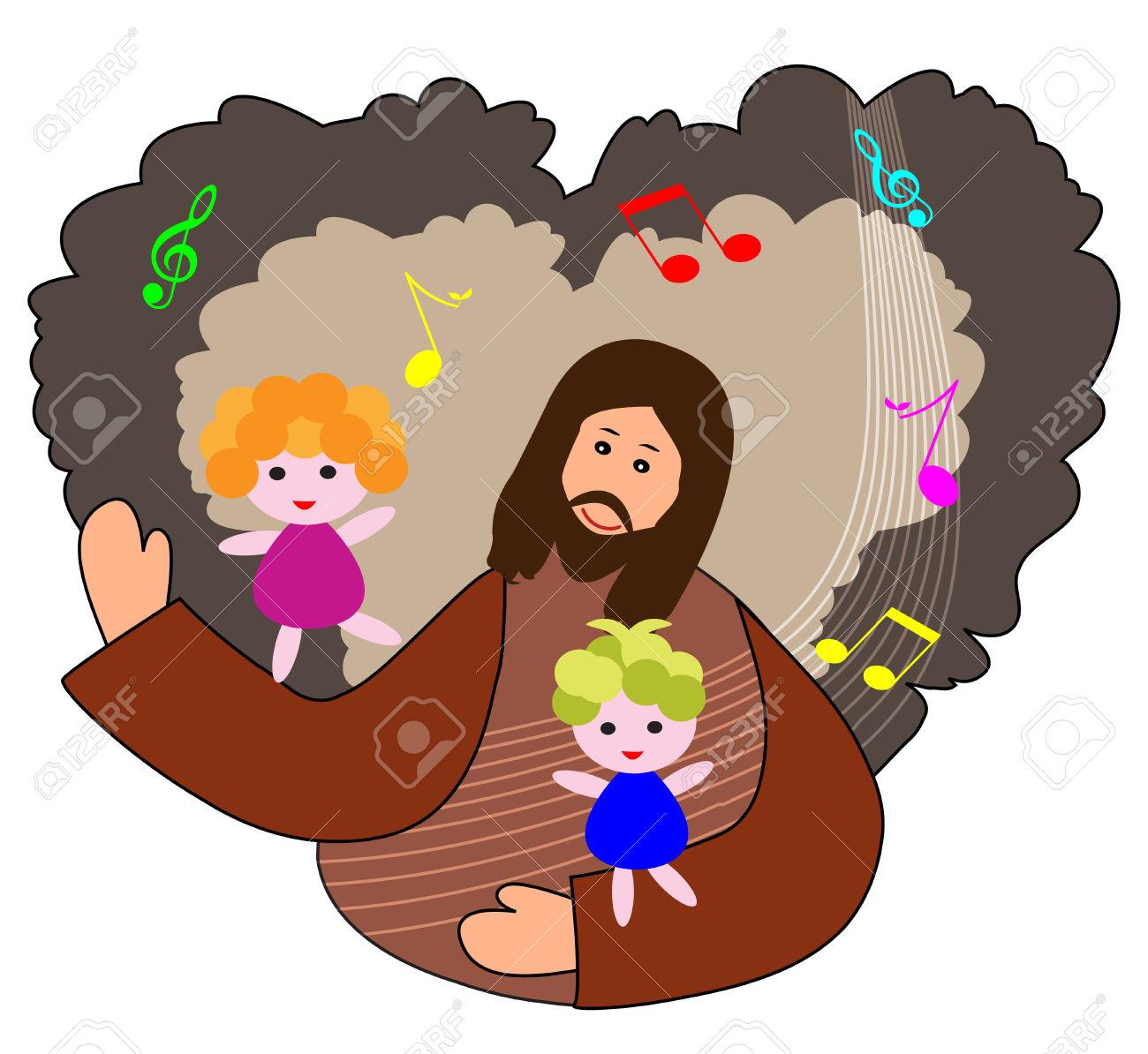 Bambini Lodare Il Signore Con Sfondo Cuore E Note Musicali Clipart.