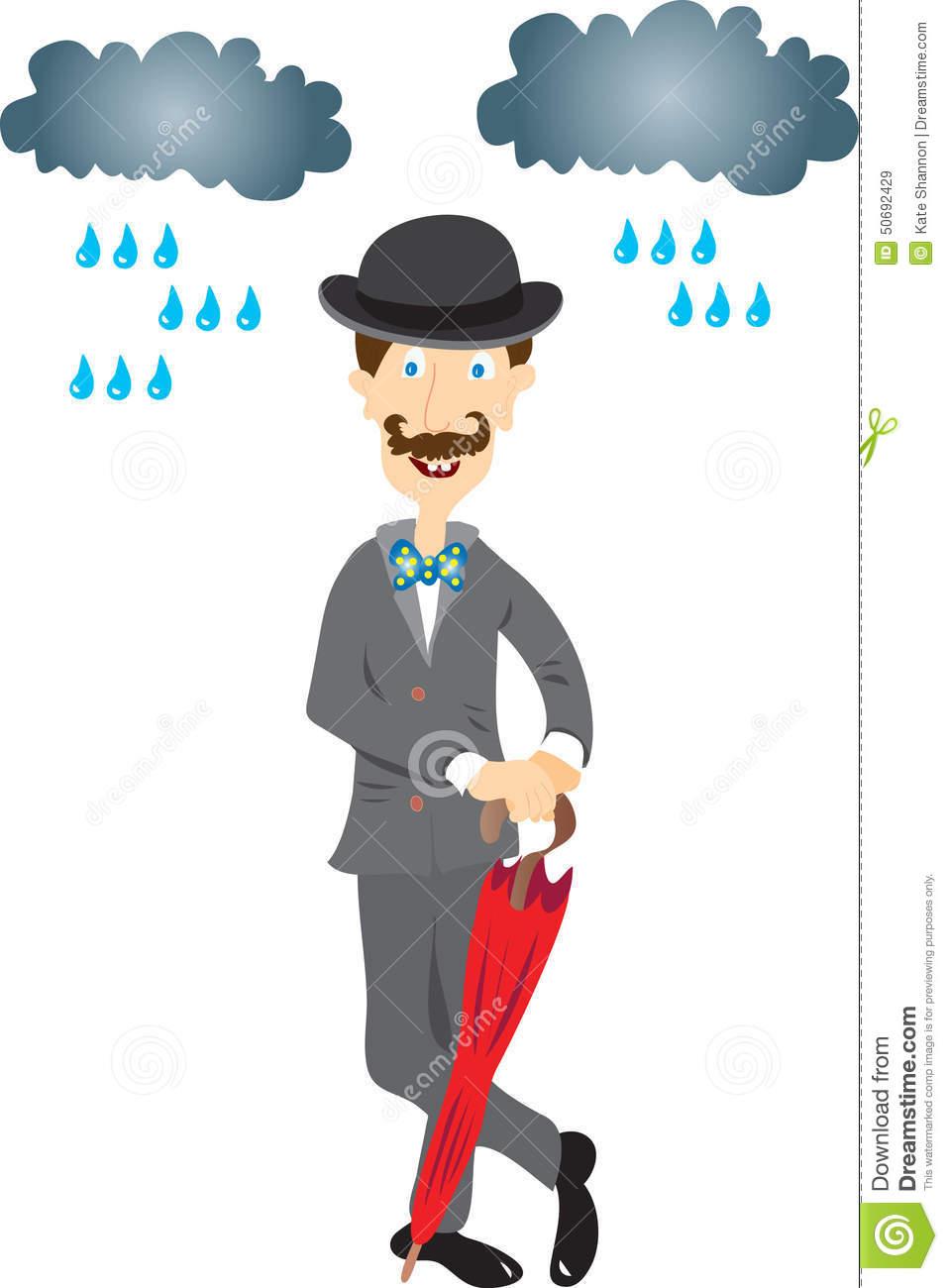 Signore Inglese Con L'ombrello Illustrazione Vettoriale.