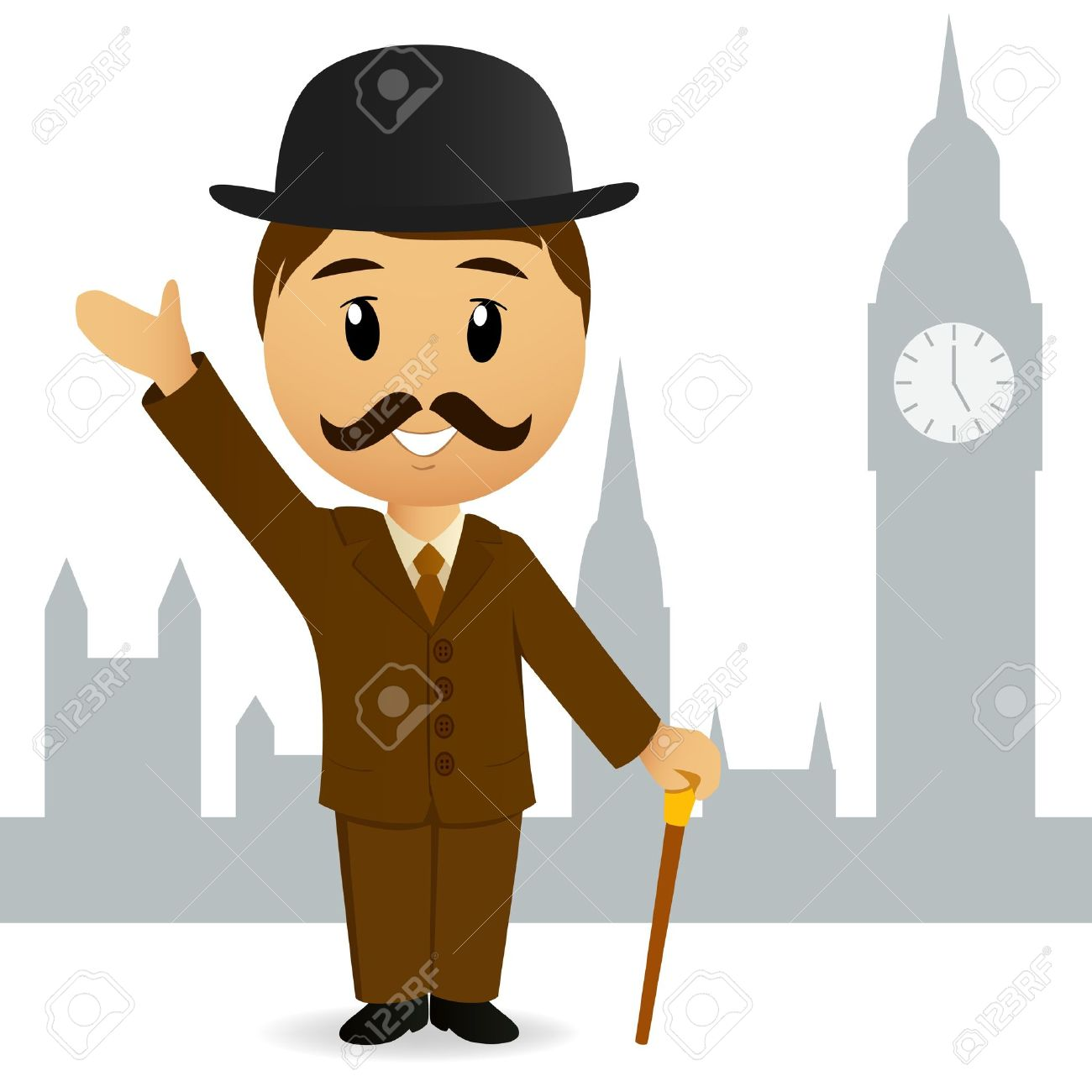 Signore Inglese Cartoon Accoglienza Sullo Sfondo Del Big Ben.
