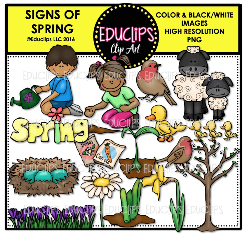 Signs Of Spring Clip Art Bundle (Color and B&W).