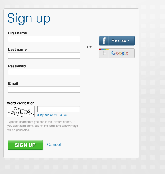 Login/signup to Commons site with Google/Facebook account.