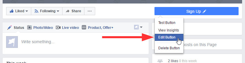 How to add an email signup button to your Facebook page.