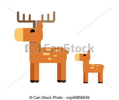 EPS Vector of Sika Deer Vector Illustration in Flat Design..