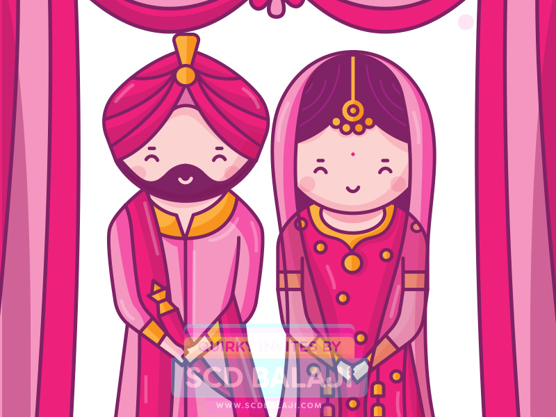 Sikh Punjabi Wedding Invitation Illustration by SCD Balaji.
