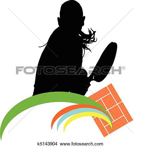 Clipart of tennis girl illustration vector sil k5143904.