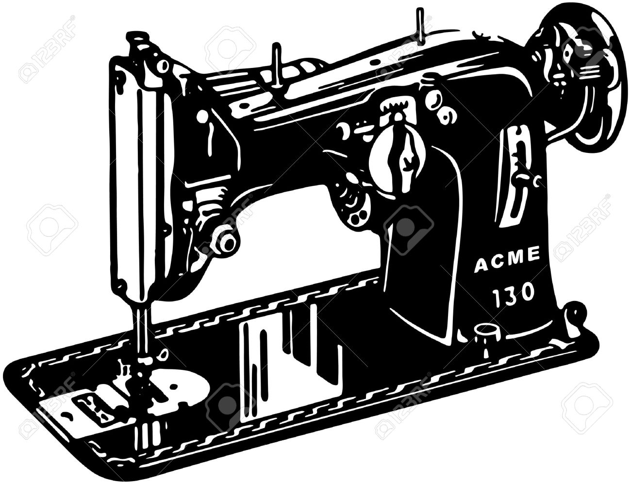 Modern Sewing Machine Clipart.