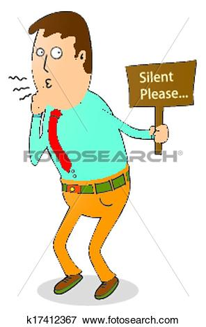 Clip Art of silent please k17412367.