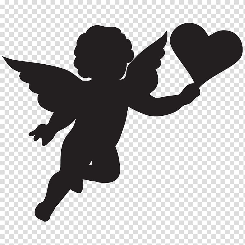 Cherub Cupid Silhouette , angel baby transparent background.