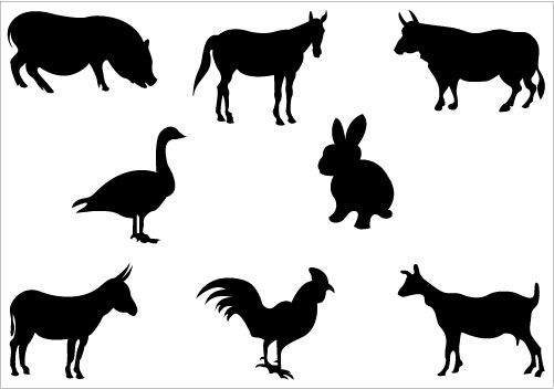 This is an awesome farm silhouette vector included with animal.