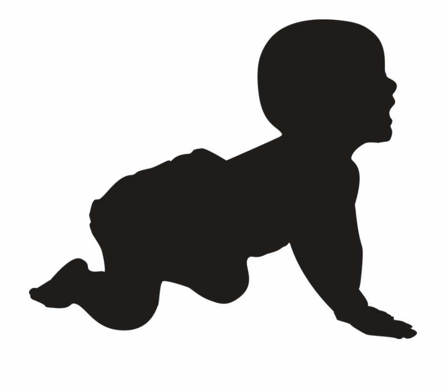 Silhouette Baby Crawling Young Laughing Cute.
