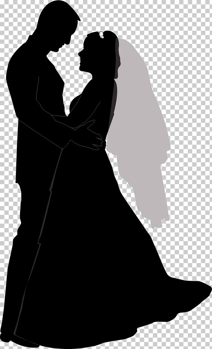 Wedding Open Silhouette Bride, wedding PNG clipart.