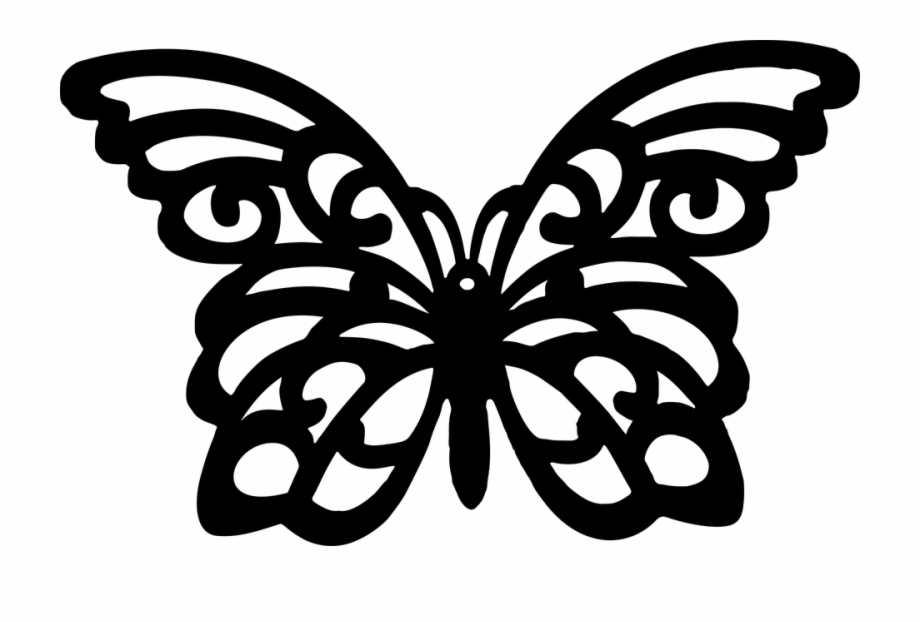 Silhouettes Clipart Flying Butterfly.