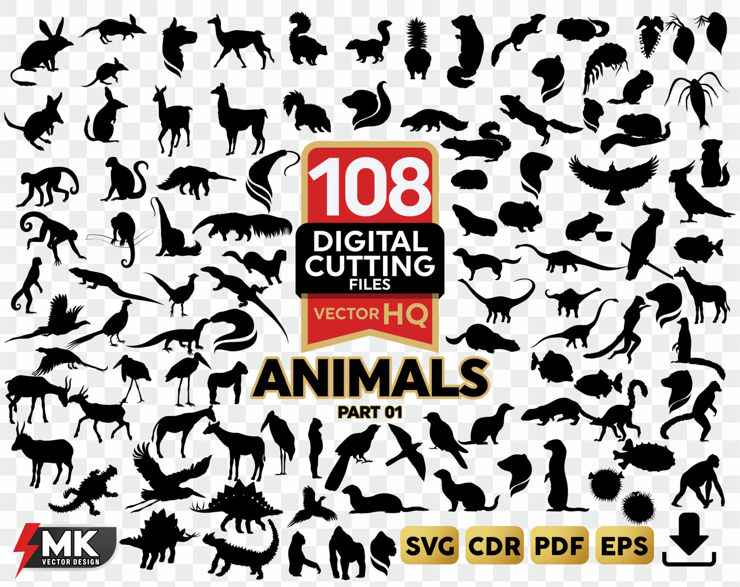 ANIMALS #01 SVG Silhouette Clipartsvgcut by SVGMKCreative.