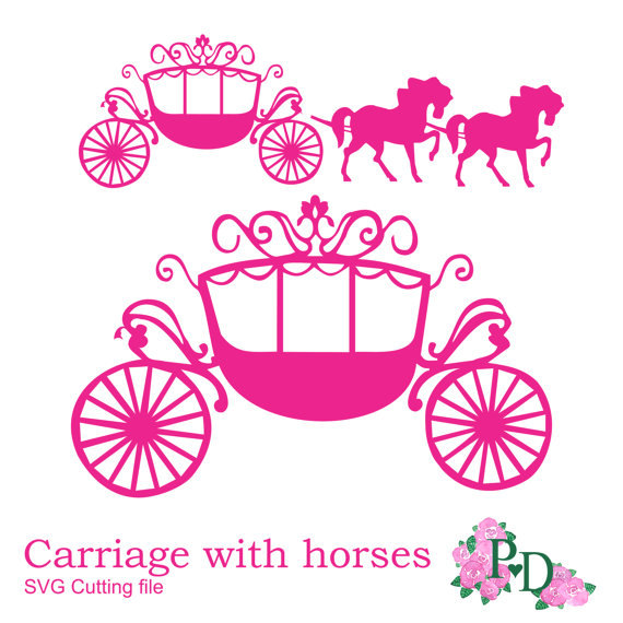 SVG DXF PNG Princess Carriage horse Cutting file digital instant.