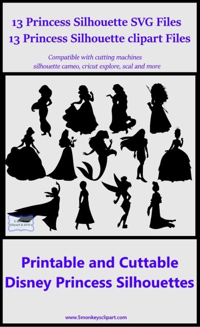Disney Princess SVG files and printable clipart Vector cutting.