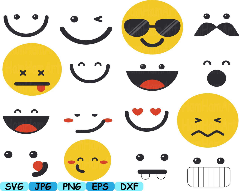 Smiley Faces Emoji Silhouette Cameo Cutting Files cut SVG kawaii.