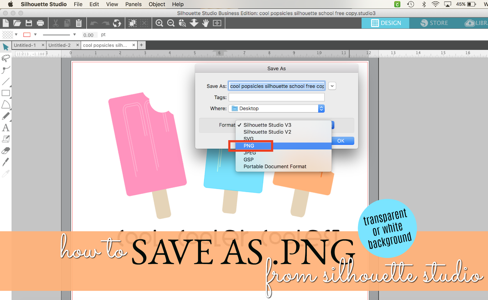 How to Save as PNG from Silhouette Studio (V4.2 Series.