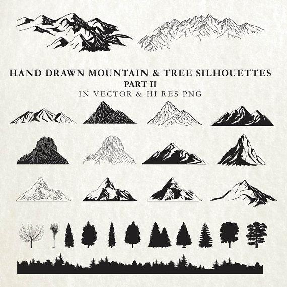Hand Drawn Mountain Clipart Mountain Cartography Nature.