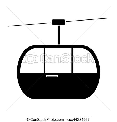 Clip Art Vector of silhouette sky cable car transport mountain.