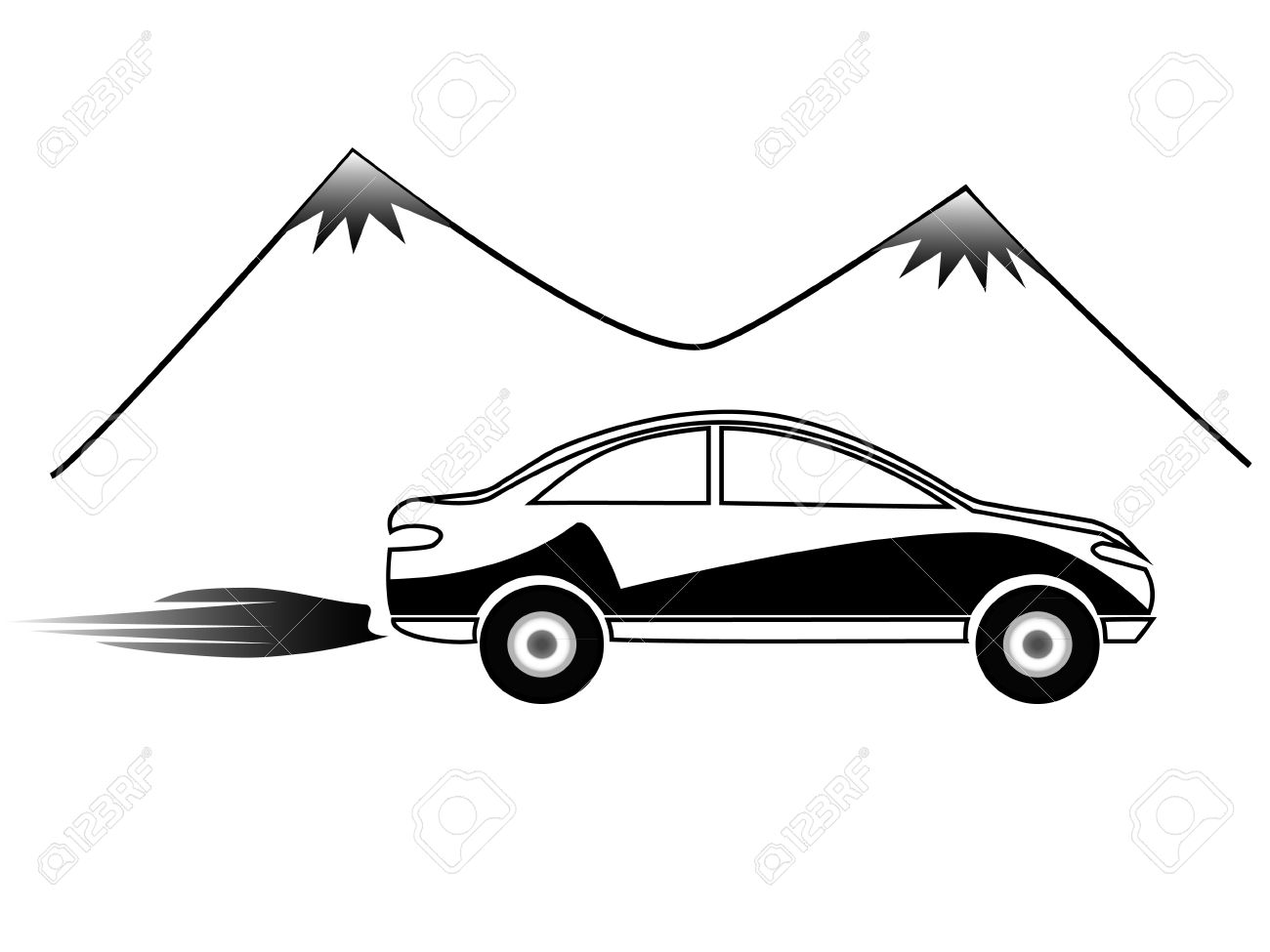 Car And Mountains Silhouettes Royalty Free Cliparts, Vectors, And.