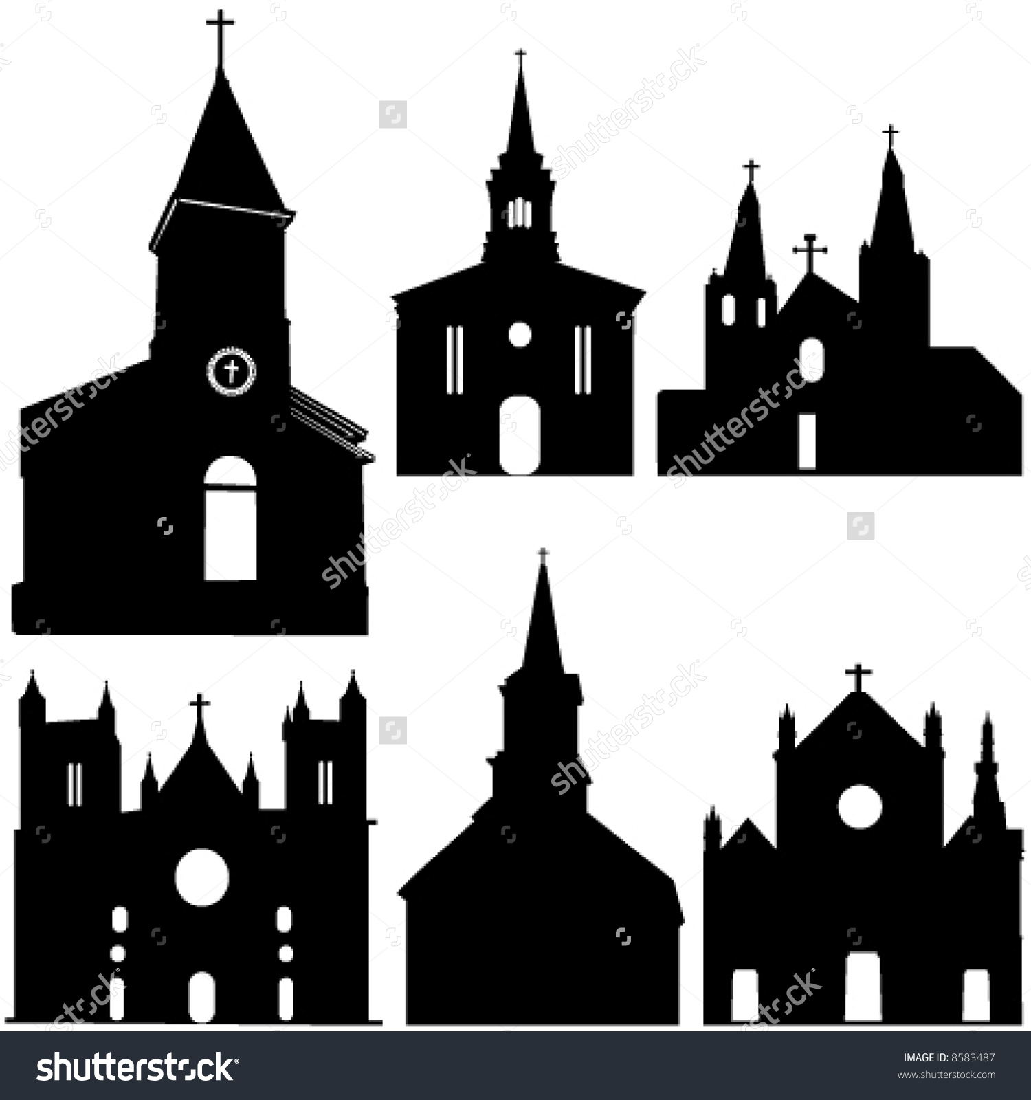 Silhouette castle and church clipart #15