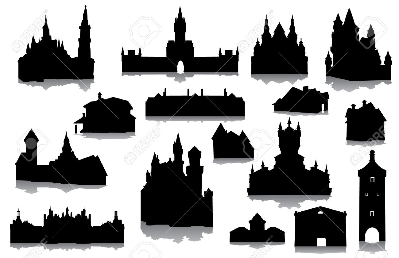 Silhouette castle and church clipart #11
