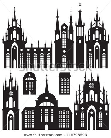 Silhouette castle and church clipart #7