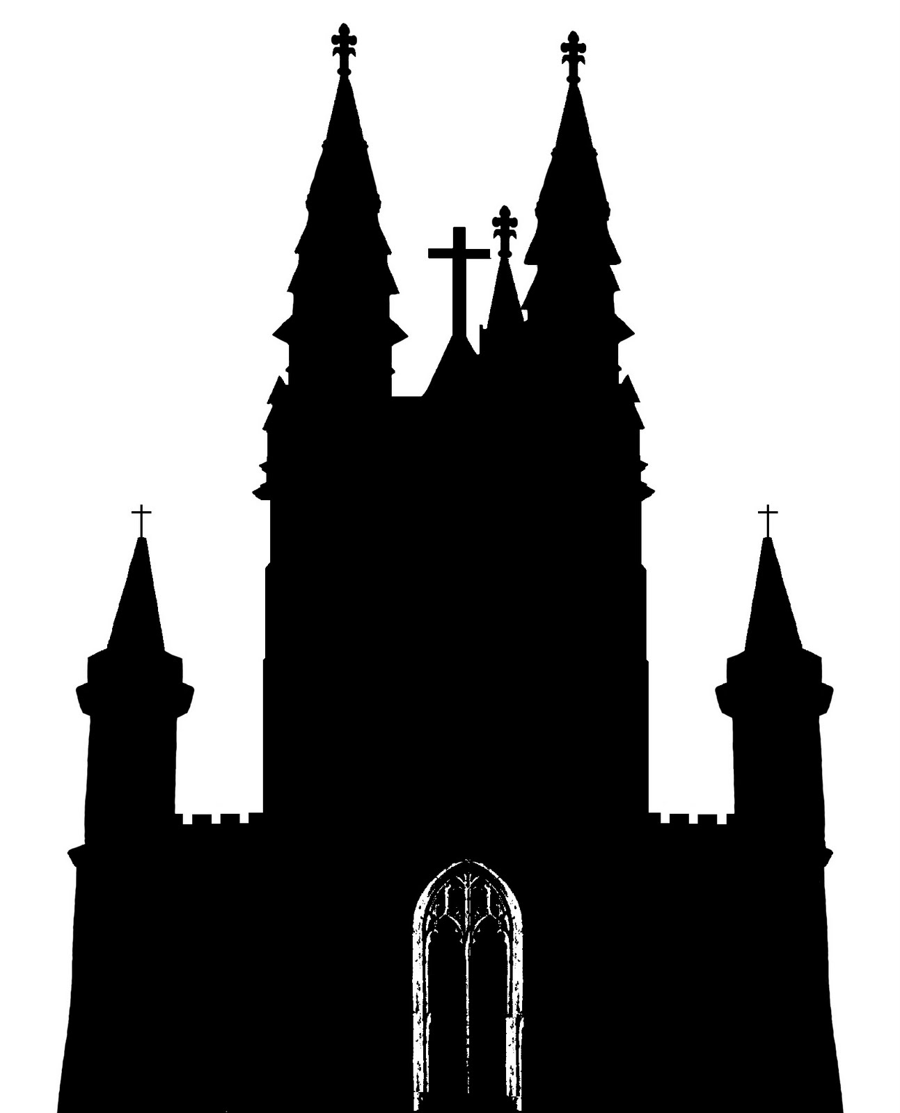 Silhouette of a steeple clipart.