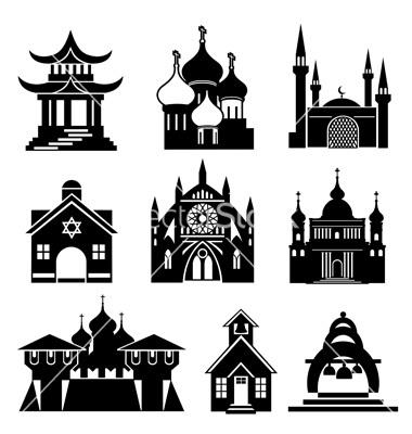 Church silhouettes vector by print2d.