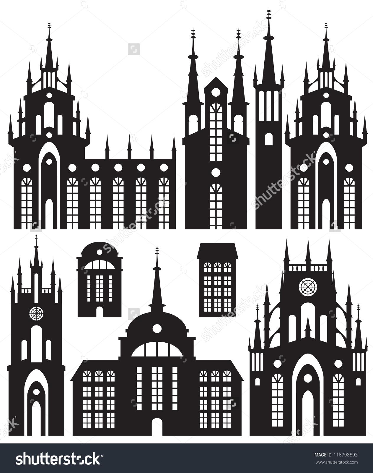 Set Silhouettes Buildings Castles Churches Stock Vector 116798593.