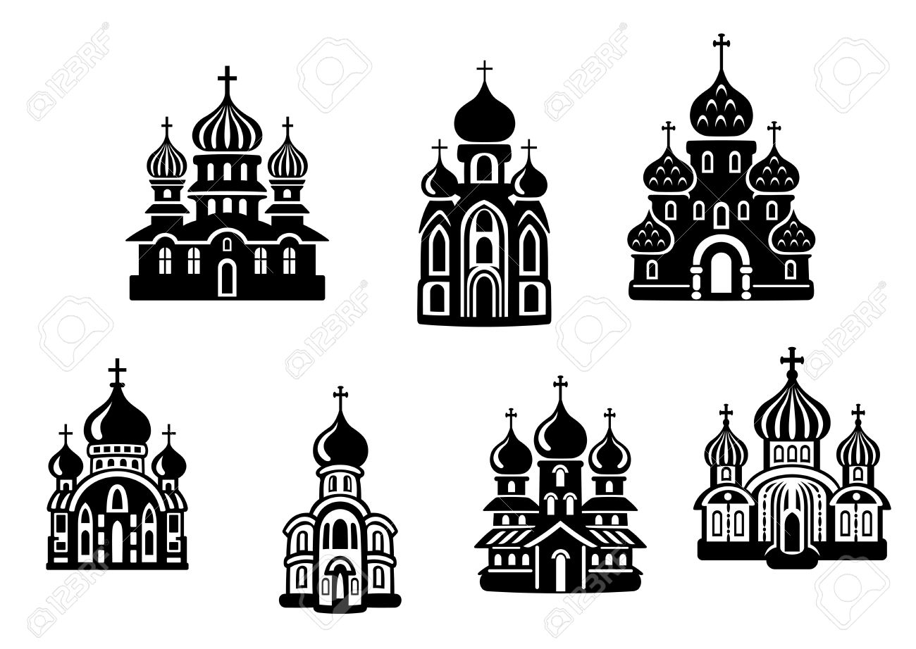 Churchs And Temples Set For Religion Design Royalty Free Cliparts.