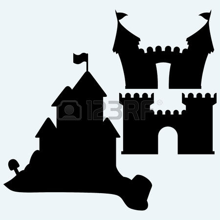 Silhouette castle and church clipart #13