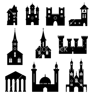 Silhouette castle and church clipart #20