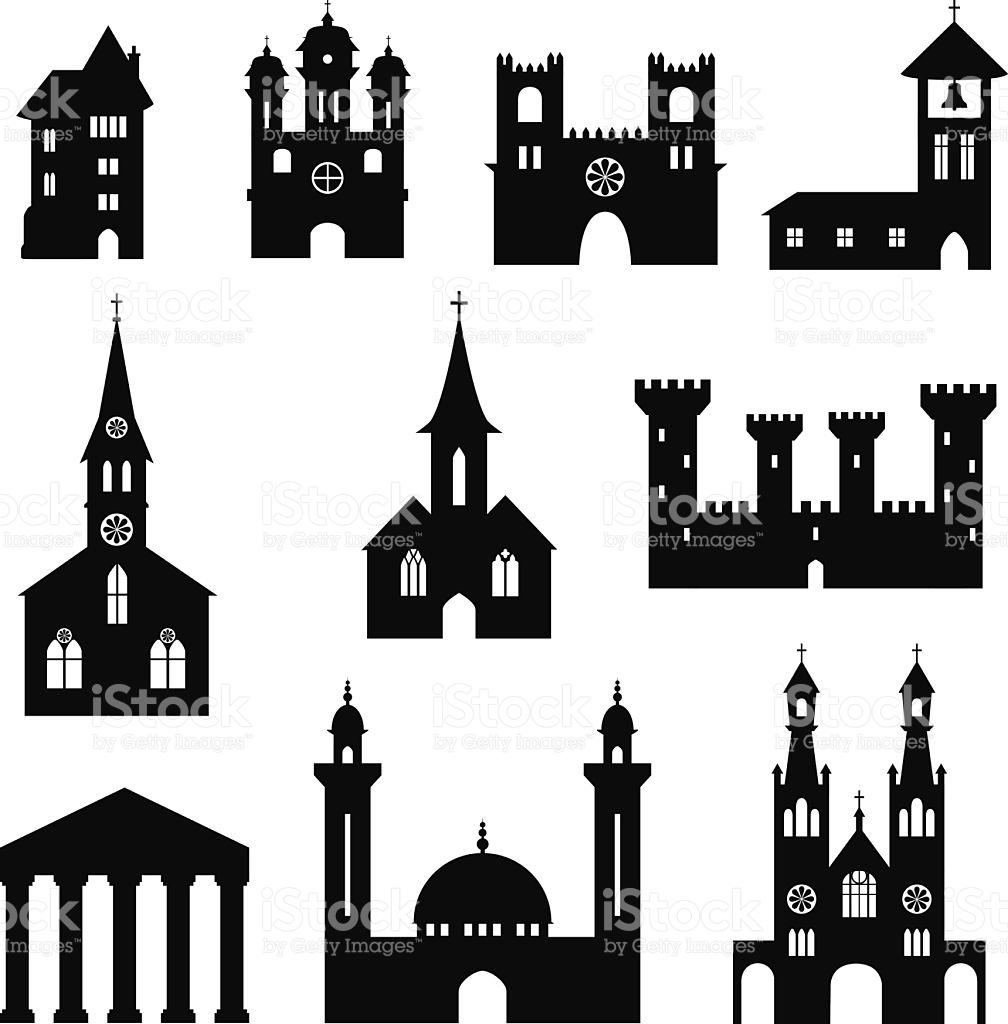 Silhouette castle and church clipart #18