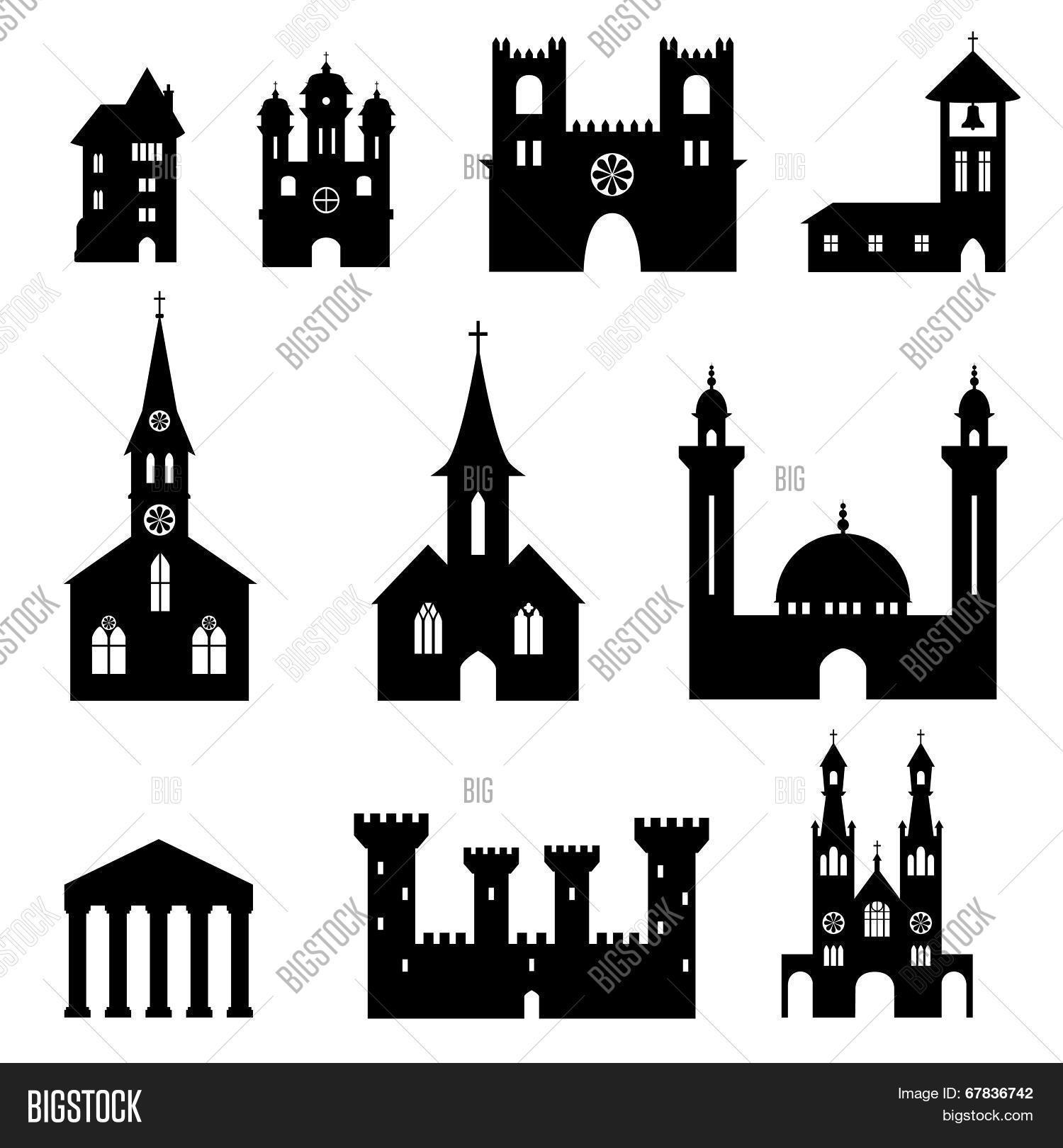 Bundle of church and castle silhouettes Stock Vector & Stock.