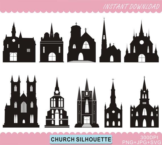Church Silhouettes Clipart Castle Silhouettes by BHdigitalBox.