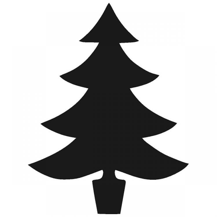 Silhouette Christmas Tree Clipart Black And White.
