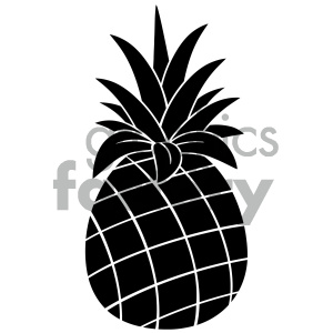 Royalty Free RF Clipart Illustration Pineapple Fruit Black And White  Silhouette Simple Design Vector Illustration Isolated On White Background.