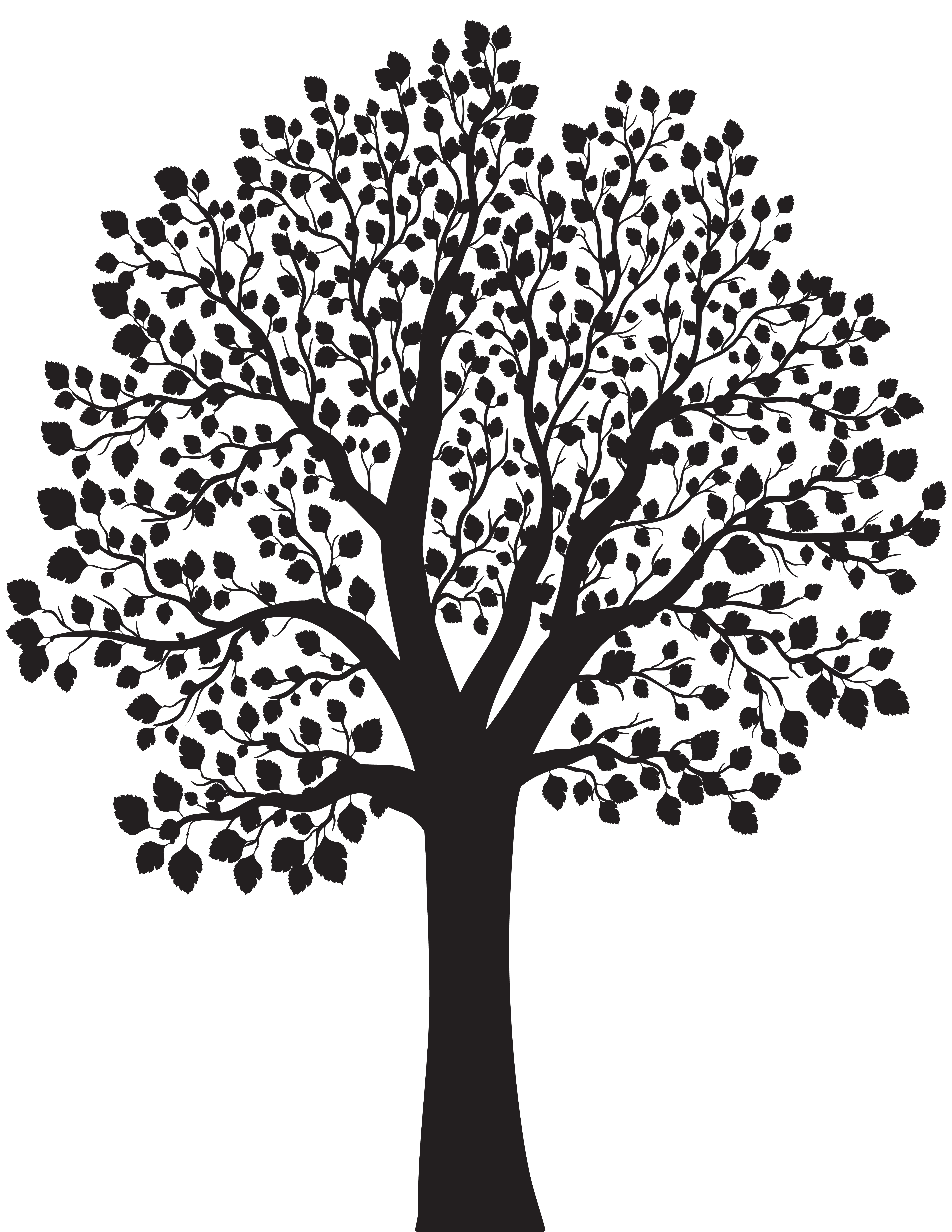 Tree Silhouette PNG Clip Art Image.
