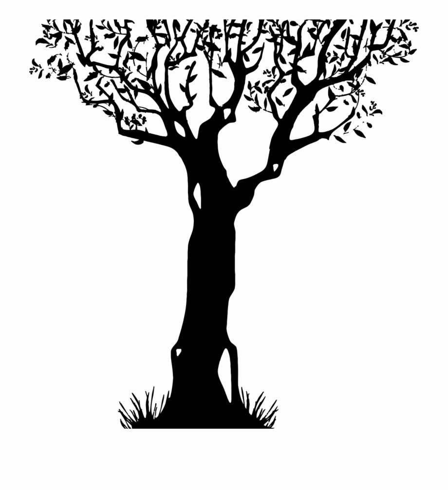 Trunk Tree Stump Branch Silhouette.