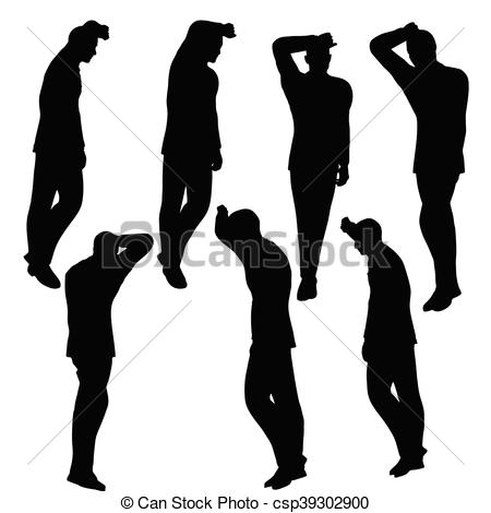 Man Silhouette In Anxious Pose Vector.