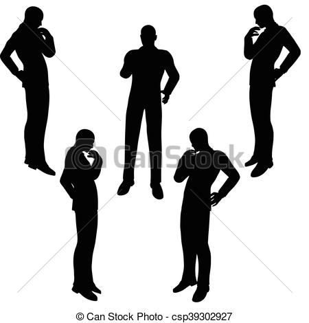 Vector Illustration of man silhouette in anxious pose.