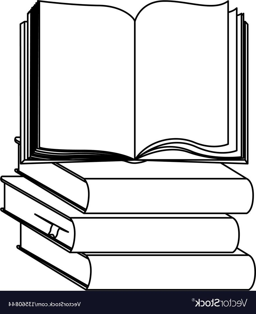 Unique Book Vector Silhouette Drawing » Free Vector Art.